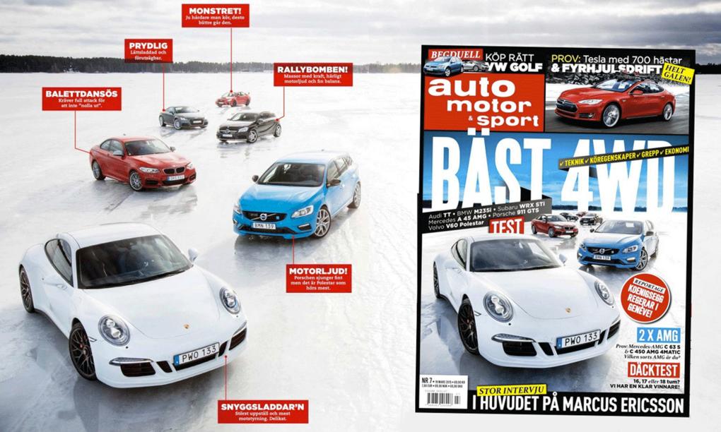 Sex bilar i stort vintertest
