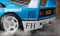 Bilmisshandlaren gör burnout med Ferrari F40 GT