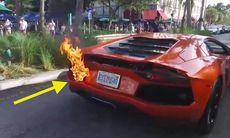 Parkeringsvärd lånar Lamborghini för provtur – men bilen tar eld!
