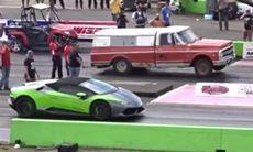 Här åker Lamborghinin på storstryk av en risig pickup
