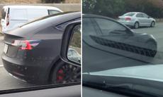Tesla Model 3 fångad på film