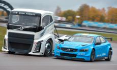 Duell: Lastbilen Iron Knight vs Volvo S60 Polestar WTCC