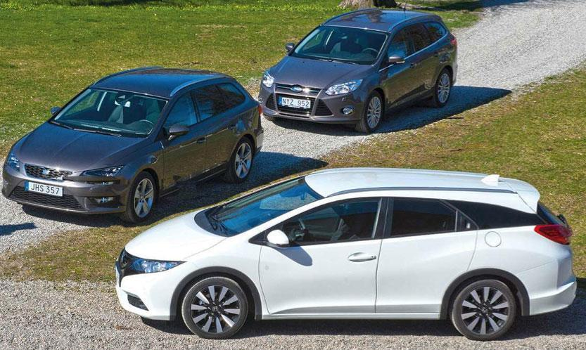 Test ford focus kombi 1 6t honda civic tourer och seat for Mueble 2 din seat leon 1m