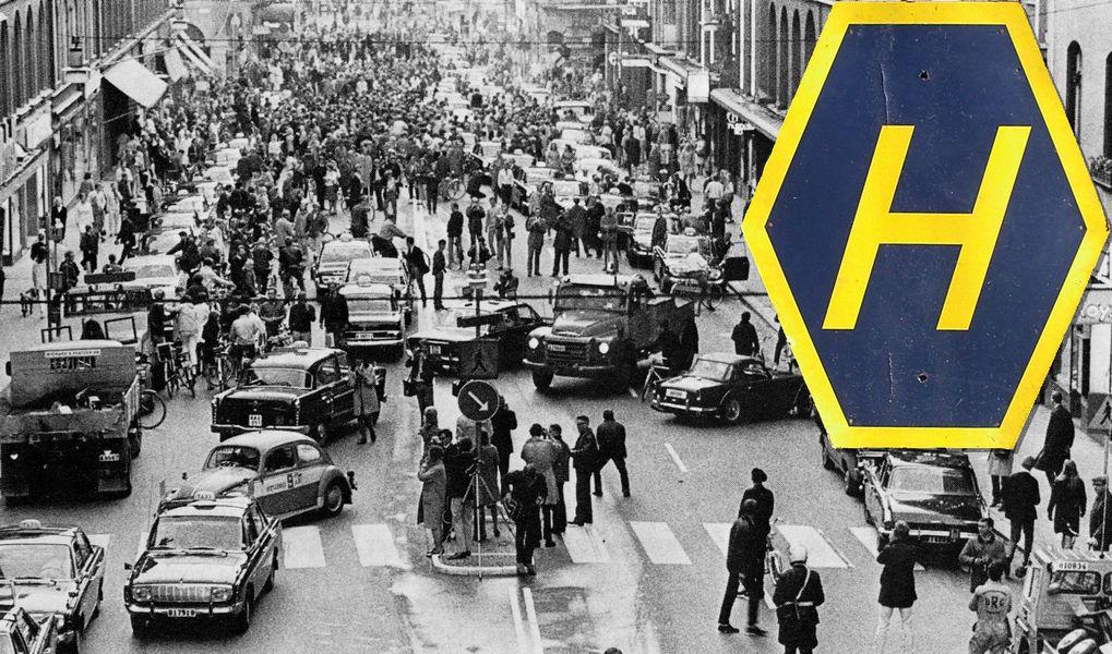 """50 år sedan 50 år sedan """"Dagen H"""" – då Sverige fick högertrafik   auto motor  50 år sedan"""